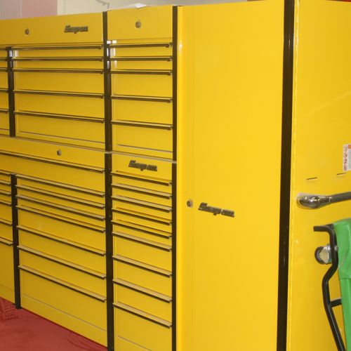 Large yellow Snap-on automotive tool cabinet